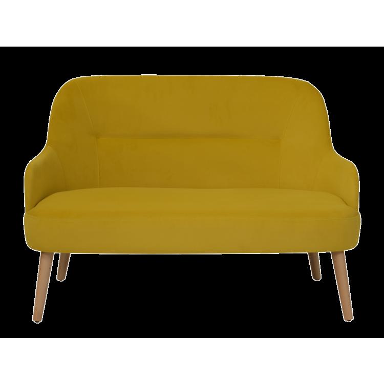 Canapé Lisbonne en velours jaune 2 places