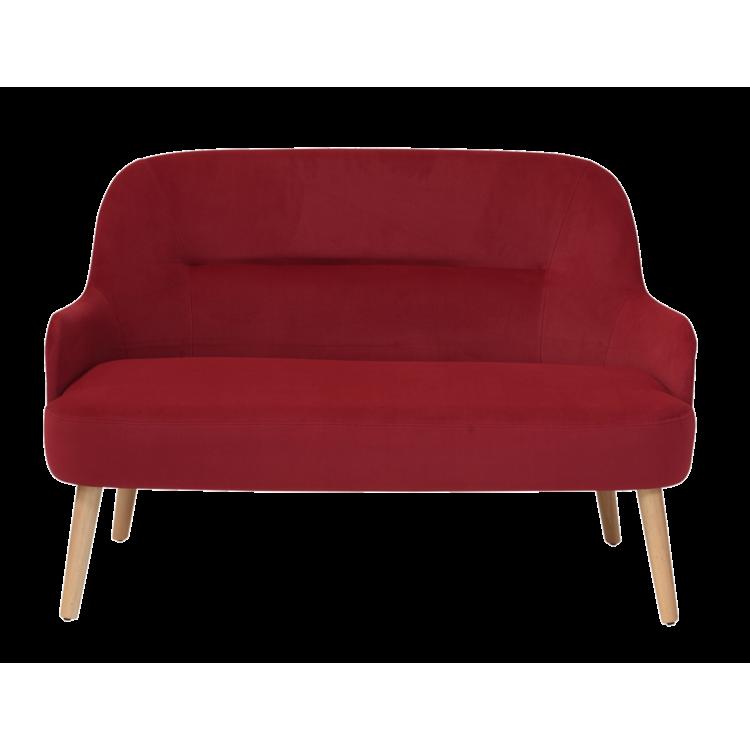 Canapé Lisbonne en velours rouge 2 places