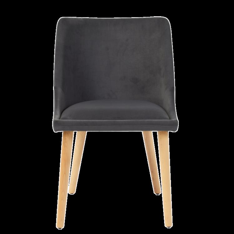 Chaise Mila en velours gris et pieds en bois massif