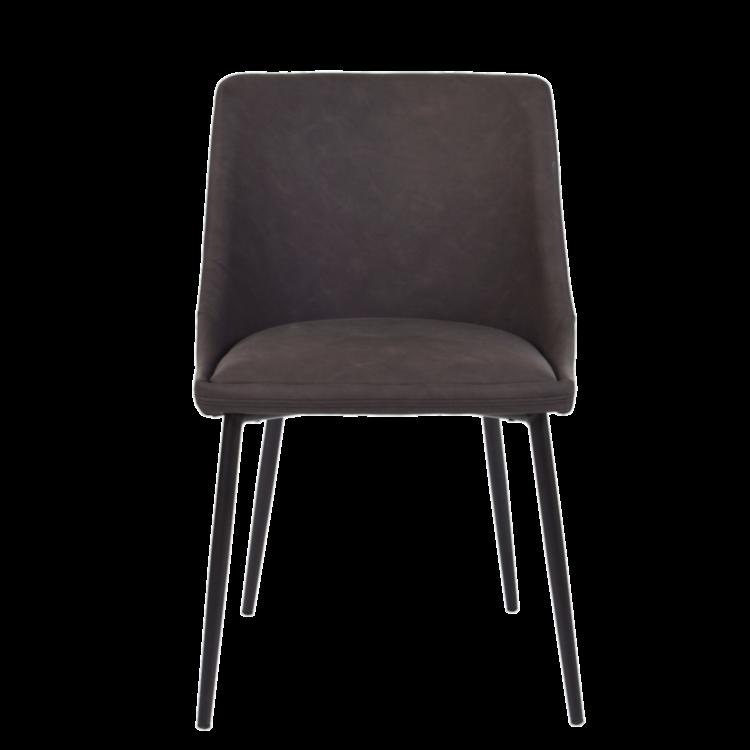 Chaise Ottawa vintage en cuir artificiel marron et pieds métal