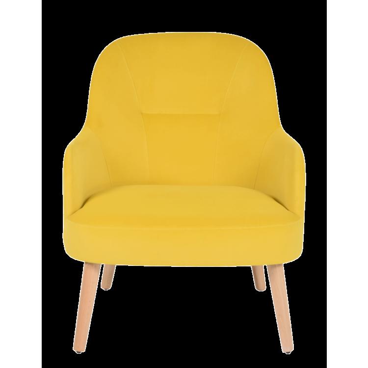 Fauteuil Lisbonne en velours jaune