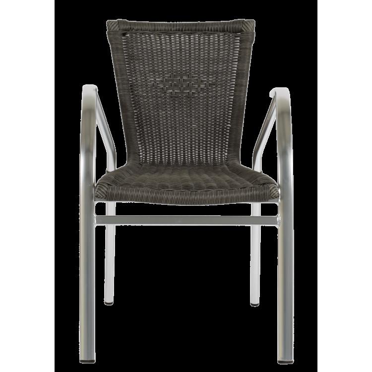 Fauteuil Apia tressé gris pour terrasse