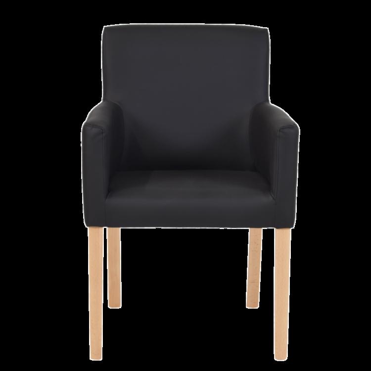 Fauteuil Madrid moderne en simili cuir noir et pieds bois naturel