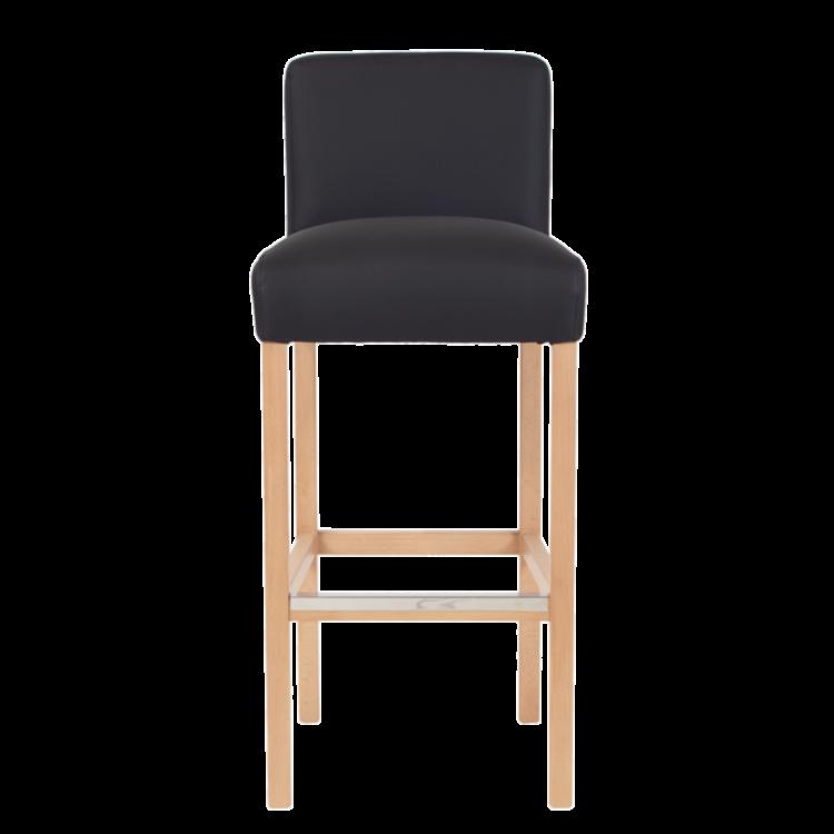 Tabouret Tokyo de bar en simili cuir noir avec hauteur d'assise 80 cm