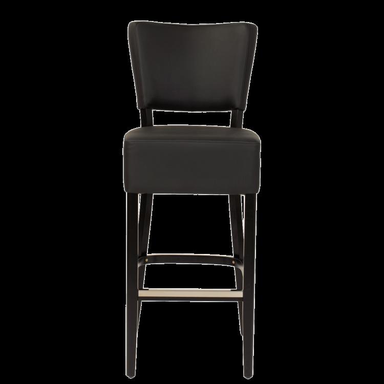 Tabouret Brasilia pour bar en simili cuir noir hauteur d'assise 78 cm
