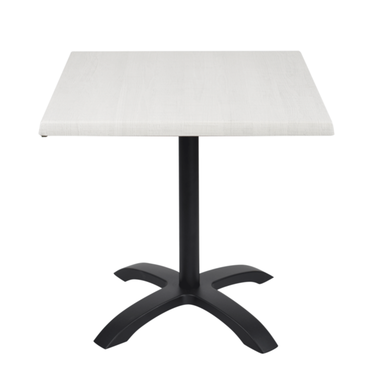 Table Palissade Blanc stratifié moulé 70x70 avec pied