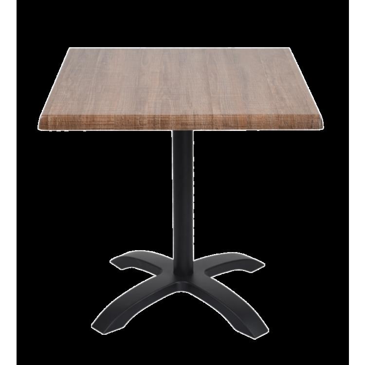 Table Palissade Marron stratifié moulé 70x70 avec pied