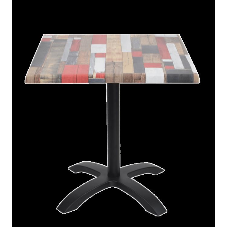 Table Redden Wood Stratifié moulé 70x70 avec pied