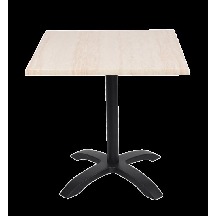 Table Travertin Stratifié moulé 70x70 avec pied